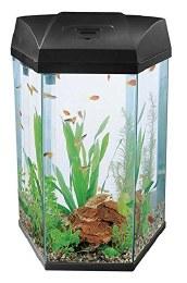 Fish R Fun Hexagonal Fish Tank With Pump Filter & Light 68 Litre Black