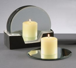 Glass Mirror Plate for Candle 20cm
