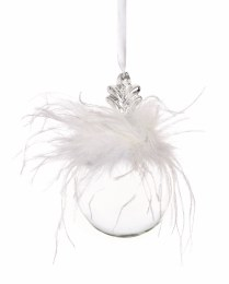 Christmas Bauble Clear Glass Bauble with Feathers 80mm