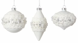 Christmas Bauble White Pearl with Diamonds 8cm