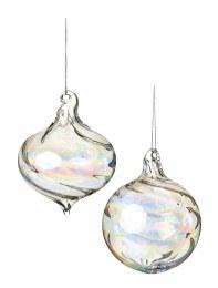Christmas Bauble Clear Lustre Glass Ball or Onion Shape 9cm
