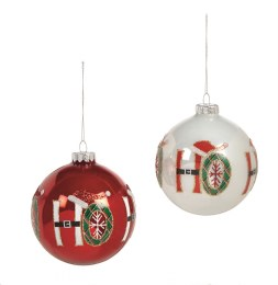 Christmas Bauble 'Ho Ho Ho' Glass Bauble Red or White 10cm