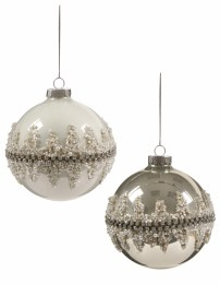 Christmas Bauble Diamante Band Glass Ball Gold or White 10cm