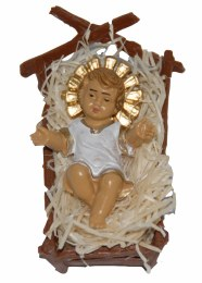 Baby Jesus in Cradle with Halo 9 x 6cm