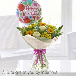 Happy Birthday Golden Charm Hand-Tied With Balloon