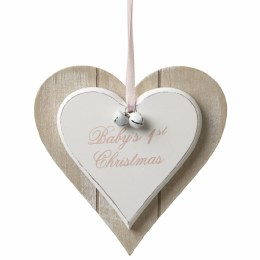 Baby's First Christmas Decoration Wooden Heart Pink 12x12cm