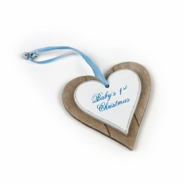 Baby's First Christmas Decoration Wooden Heart Blue 12x12cm
