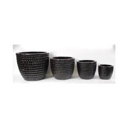 Hutch Ceramic Glazed Black Pot 60cm x 50cm