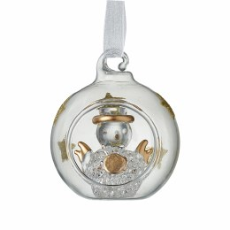 Christmas Bauble Clear & Gold Star Decoration With Snowman 4cm