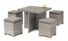 Palma Cube Set Rattan Weave With Taupe Cushions