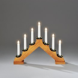 Christmas Wooden Candlebridge 7 Bulb Oak Effect Welcome Light 32x39cm