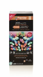 200 Multi Action Multi Coloured LED Battery Operated Christmas Lights with Timer 20m