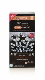 200 Multi Action Cool White LED Battery Operated Christmas Lights with Timer 20m