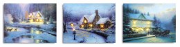 Christmas Canvas Winter Cottage Scene With 6 LED lights 40x30cm