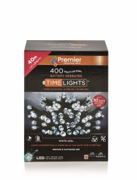 400 Premier Multi Action Cool White LED Lights with Timer 40m Battery Operated