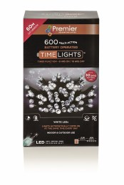 600 Multi Action Cool White LED Battery Operated Christmas Lights with Timer 60 Meter Cable