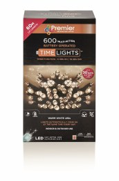 600 Multi Action Warm White LED Battery Operated Christmas Lights with Timer 60 Meter Cable