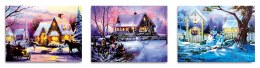 Christmas Canvas Snowy House Winter Scene 40 x 30cm