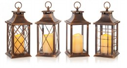 Battery Operated Christmas Lantern Brushed Copper With Candle With Static Effect 27cm