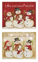 Christmas Canvas LED Snowman Scene with hanger 24 x 20cm