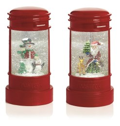 Christmas Water Spinner Red Letter Box With Santa or Snowman 23cm