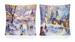 Christmas Cushion with LED Lights Snow Scene 45x45cm