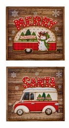 Christmas Sign with North Pole Camper Van with LED Lights Battery Operated