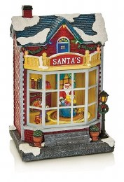 Christmas Village Scene LED Santa's Workshop Multi 28cm