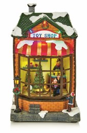 Christmas Village Scene LED Toy Shop Multi 28cm