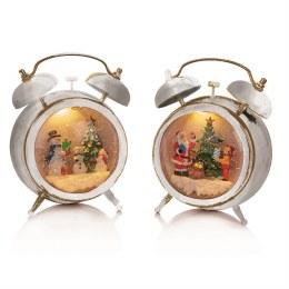 Christmas Water Spinner Alarm Clock with Santa or Snowman Scene 19cm