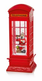 Christmas Water Spinner Telephone Box Red 27cm