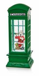 Christmas Water Spinner Telephone Box Green Irish Theme 27cm