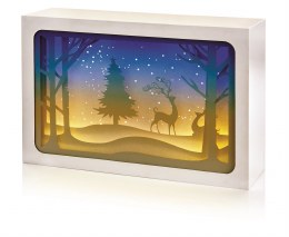 Diorama with Deer Scene 21x14cm - Battery Operated