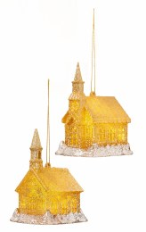 Christmas Decoration Gold Glitter Church with LED Lights 10cm