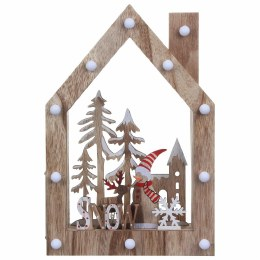 Christmas Wooden Scenes With 12 Warm White Lights 30x20cm Battery Operated