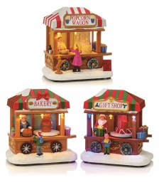Christmas LED Popcorn Bakery or Gift Shop Wagon Scene 14cm