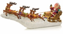 Christmas LED Santa on Sleigh With Light Up Reindeer 65cm