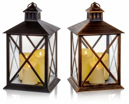 Battery Operated Christmas Lantern with 3 Flicker Effect Candles 40cm