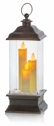 Battery Operated Christmas Lantern with Christmas Candles and LED Lighting 33cm