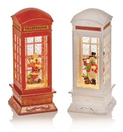 Christmas Water Spinner Telephone Box Red or White 27cm