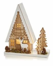 Premier Christmas Wooden House Scene Xmas Tree & Reindeer Warm White LEDs