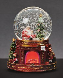 Christmas Snowglobe with Santa Lit Fireplace and Music 19cm - Battery Operated