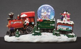 Christmas Snowglobe on Train with Led Light 36cm - Battery Operated