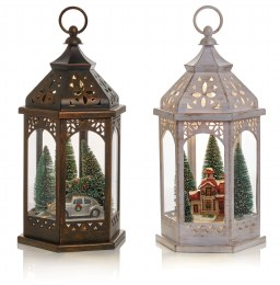 Battery Operated Lantern With Pine Tree & Car Christmas Scene 42cm