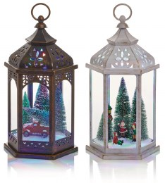 Battery Operated Christmas Lantern With Christmas Scene and LED Lighting 33cm