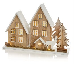 Premier Christmas Woodland House Scene With Warm White LEDs 35 x 25cm