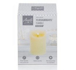 Christmas Flicker Flame Candle Cream 13cm x 9cm Battery Operated & Timer