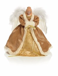 Christmas Tree Topper Angel Gold Dress with Wings with Warm White LED Lights