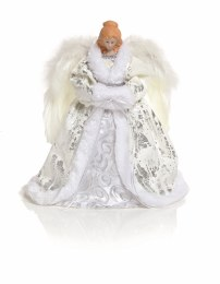Christmas Tree Topper Angel White Dress with Wings with Warm White LED Lights