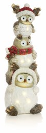 Christmas LED Triple Owl Tower with LED Lights 63cmx23cm Battery Operated